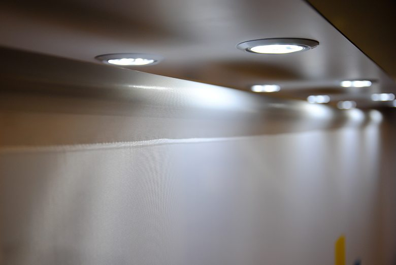 Crispin Corp LED Lighting and Sheer Tension Fabric